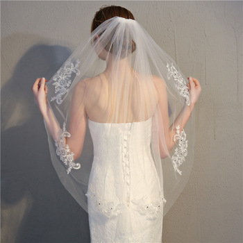 2018 hot sale bridal veils long single Layer beaded White Wedding Veil