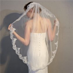 OEM Free size bridal veils single Layer applique 1.5 meters White Wedding Veil