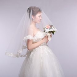 2018 princess simple design one-layer bridal veils applique soft tulle wedding lace Veil