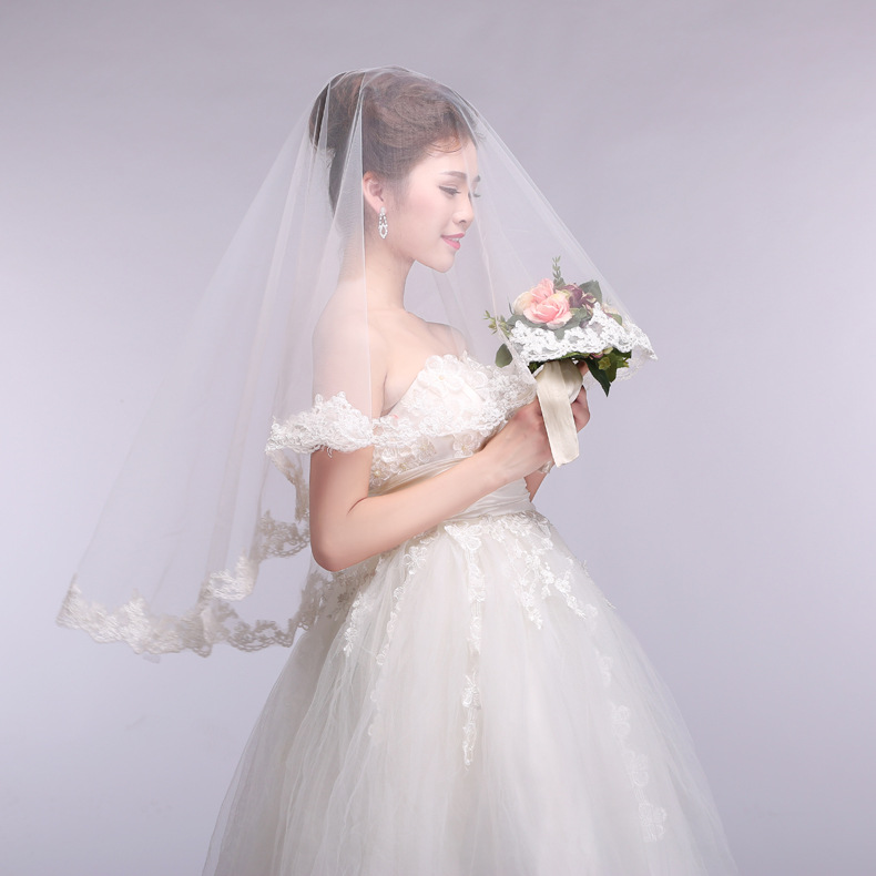 2018 princess simple design one-layer bridal veils applique soft tulle wedding lace Veil