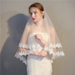 2018 simple short two-layer bridal veils applique soft tulle veils for wedding