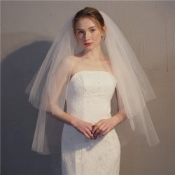 Wholesale pure white wedding Veil two-layer soft tulle wedding veil with brush