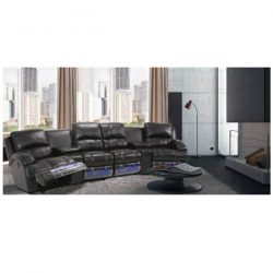 Arboga 6 Piece Leather Theatre Lounge Suite – Furniture Australia