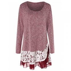 Plus Size Lace Insert Layered Tunic Knitwear