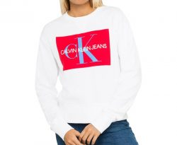 Calvin Klein Jeans Women's Monogram Logo Crew Sweat – White |