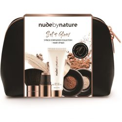 Nude by Nature Set & Glow – 5 Piece Complexion Collection & Make-up Bag | BIG W