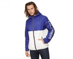 Tommy Hilfiger Men's Nylon Colour Block Logo Rain Jacket – Royal Blue/Navy |