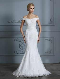Trumpet/Mermaid Off-the-Shoulder Lace Sweep/Brush Train Sleeveless Tulle Wedding Dresses