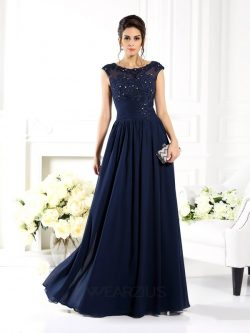 A-Line/Princess Scoop Sleeveless Floor-Length Beading Chiffon Dresses