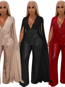 Hot V Neck Chiffon Sleeves Sequins African Jumpsuit [VIVIDRESS13026] – R1316 : vividress.co.za