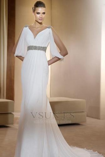 Vestido de novia estilo griego Con velo Abalorio Blanco Moderno Otoño – vsun.es