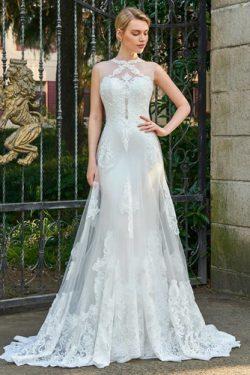 Vestido de novia largo Fuera de casa Pura espalda Capa de encaje Delgado – vsun.es