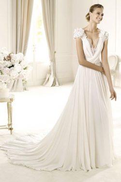 Vestido de novia Manga tapada Natural Romántico Verano Sala Plisado – vsun.es