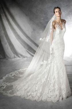 Vestido de novia Sala Con velo Barco Encaje Natural largo – vsun.es