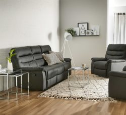 Bradford 3 Seater Recliner Sofa in Black | Fantastic Furniture