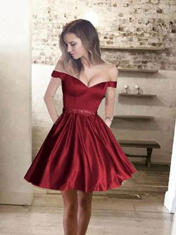 Princess Off Shoulder Short Satin Evening Dress [VIVIDRESS4702] – R2528 : vividress.co.za