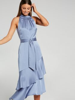 Luna Tiered Midi Dress Indigo – Portmans Online
