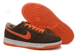 Women's Nike Dunk Low Shoes Dark Brown/White/Orange 27XYR7,Dunk,Jordans For Sale,Jordans F ...