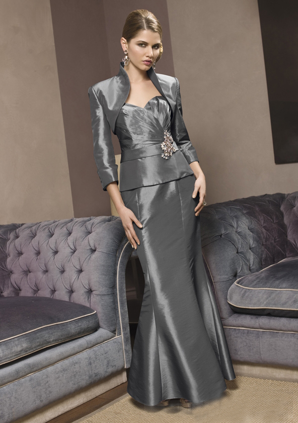 US$165.99 2015 Sweetheart Zipper Taffeta Ruched Jacket Sleeveless Floor Length Mermaid