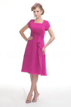 US$140.99 2015 Square Knee Length Ruched Buttons Fuchsia Short Sleeves Chiffon