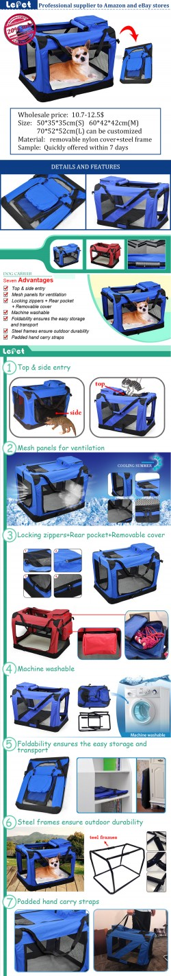 Manufacturer wholesale Oxgord Soft-Sided Comfort Travel Pet Carrier Bag dog carrier bag