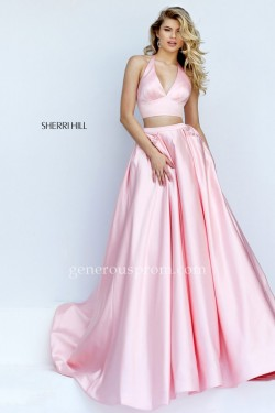Two Piece Bright Pink Sherri Hill Prom Dresses 50053 with Beaded Pockets – $198.00 : Prom  ...