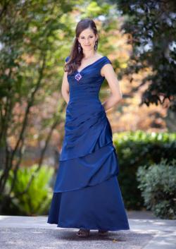 US$166.99 2015 Sleeveless Taffeta V-neck Ruched Blue Floor Length