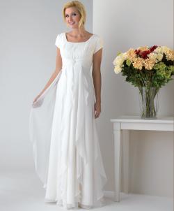 US$145.99 2015 Zipper White Square Chiffon Short Sleeves Floor Length