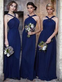 Halter Floor-length Chiffon Ruffles Affordable Dark Navy Bridesmaid Dress in UK